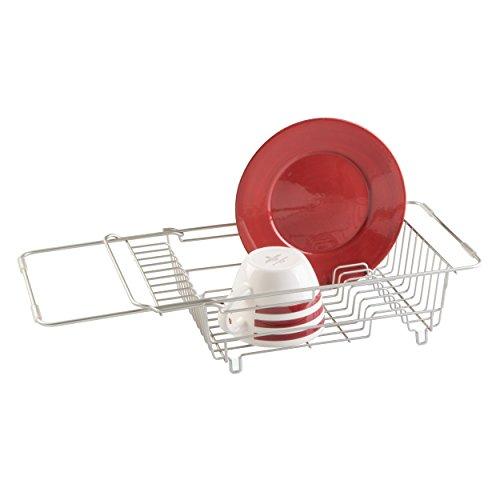 mDesign Escurreplatos Extensible para Fregadero - Escurridor Adaptable a Todos los fregaderos -Muy práctico para aclarar y secar la vajilla - Color: Plateado
