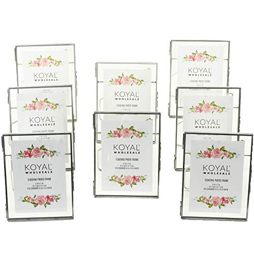 Koyal Wholesale Pressed Glass Floating Photo Frames 8-Pack with Stands for Horizontal or Vertical Pictures, Table Numbers, Place Cards (Antique Silver, 5 x 7)