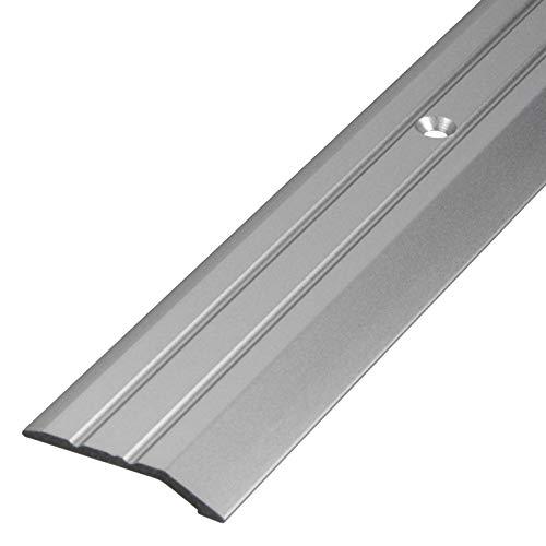 Gedotec Aluminium Übergangsprofil gelocht Abschlussprofil Alu | Fuß-Boden-Leiste höhen-ausgleich | Ausgleichsprofil Silber eloxiert | Abdeckleiste 100 cm | 1 Stück - Übergangsschiene zum Schrauben