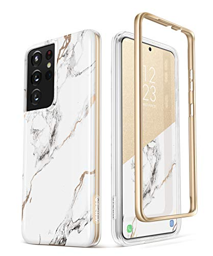 GVIEWIN Compatible with Samsung Galaxy S21 Ultra Case 5G 6.8 Inch, Dual-Layer Drop Protection Shockproof Marble Phone Cover Case Without Built-in Screen Protector (White/Gold)