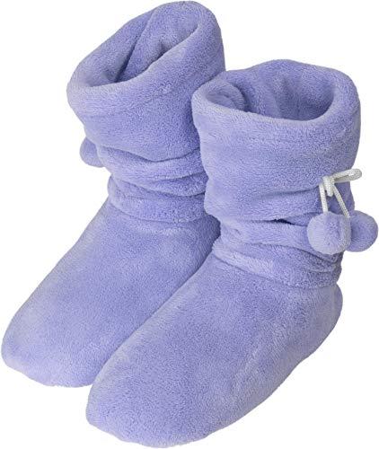 Damen-Fleece-Hausschuhe mit Rutschfester Sohle und Bommeln am Schaft Farbe Lila Größe 35-38