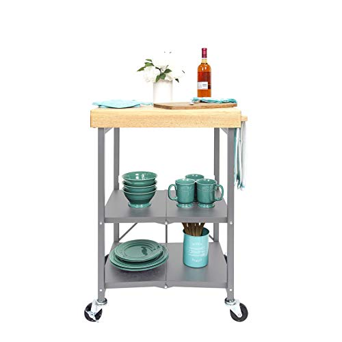 Origami Folding Kitchen Cart on Wheels | for Chefs Outdoor Coffee Wine and Food, Microwave Cart, Kitchen Island on Wheels, Rolling Cart, Kitchen Appliance & Utility Cart | Silver with Wood - RBT-02