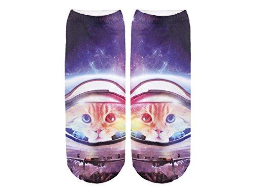 Unbekannt Socken bunt mit lustigen Motiven Print Socken Motivsocken Damen Herren ALSINO, Variante wählen:SO-L012 Galaxy Katze