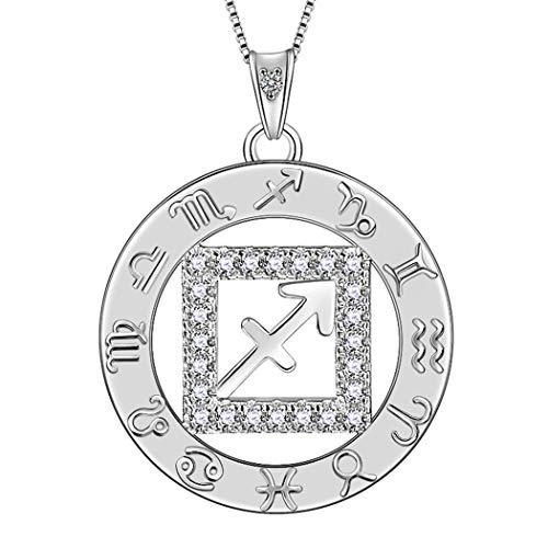 AuroraTears Schütze Halskette 925 Sterling Silber 12 Sternzeichen Anhänger Konstellation Runde Münze Halskette CZ Horoskop Schmuck Geschenk für Frauen und Mädchen DP0111S