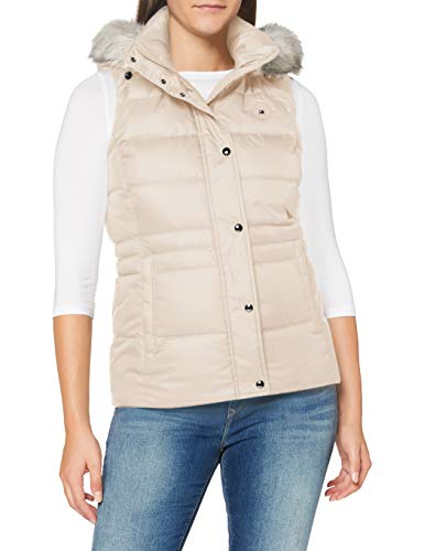 Tommy Hilfiger Damen Th ESS Tyra Down Vest with Fur Jacke, Vintage White, XL