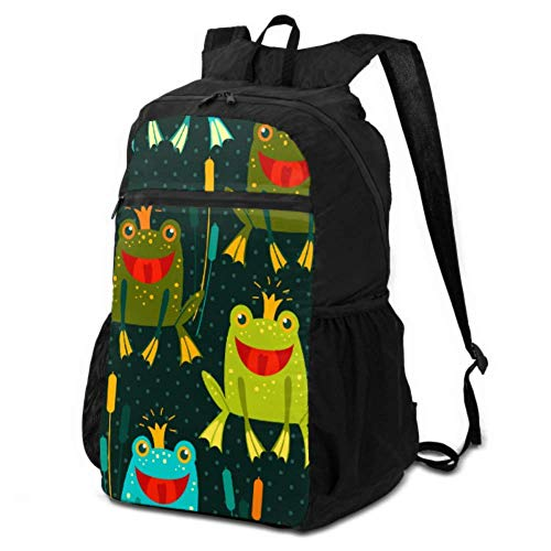 Travel Daypack Waterproof Cute Frog Vector Seamless Women Hiking Daypack Foldable Backpack for Travel Lightweight Waterproof for Men & Womentravel Camping Outdoor