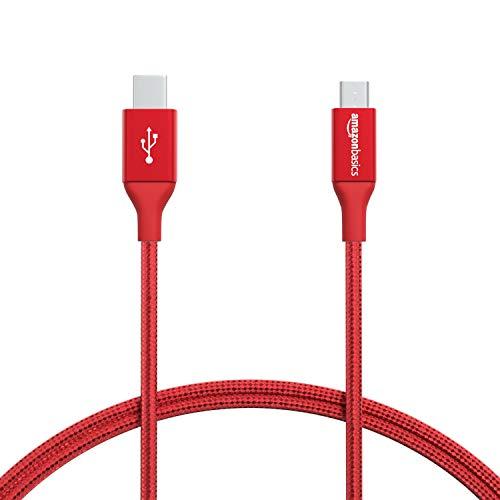 Amazon Basics - Cable macho de USB 2.0 C a micro-USB B, de nailon con trenzado doble | 0,9 m, Rojo