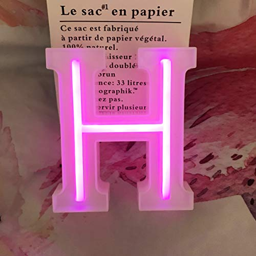 QiaoFei Letras de luces de marquesina, letras de neón, decoración de pared rosa/decoración de mesa para el hogar Bar Navidad, fiesta de cumpleaños, día de San Valentín palabras – letras rosas (H)