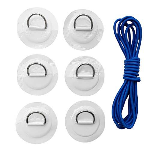 6er Set Anti-Rutsch Selbstklebend Pads Patch mit D-Ring Befestigung und Elastischer Schnur für Kajak Kanu Boot Stand Up Paddleboard - Weiß
