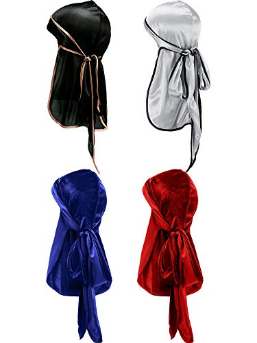 Tatuo 2 Pieces Velvet Durag and 2 Pieces Silky Soft Durag Cap Headwraps with Long Tail and Wide Straps for 360 Waves(Black, Silver, Blue, Red)