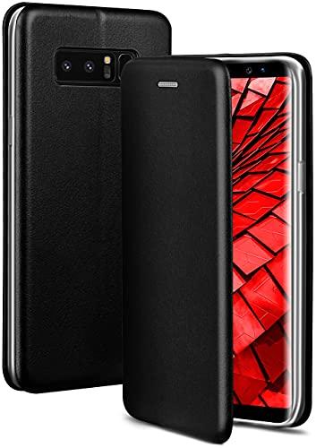 ONEFLOW Handyhülle kompatibel mit Samsung Galaxy Note8 - Hülle klappbar, Handytasche mit Kartenfach, Flip Hülle Call Funktion, Leder Optik Klapphülle mit Silikon Bumper, Schwarz