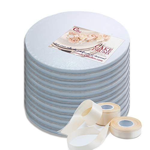 Cake Drums Round 12 Inches - (White, 12-Pack) - Sturdy 1/2 Inch Thick - Professional Smooth Straight Edges - Free Satin Cake Ribbon