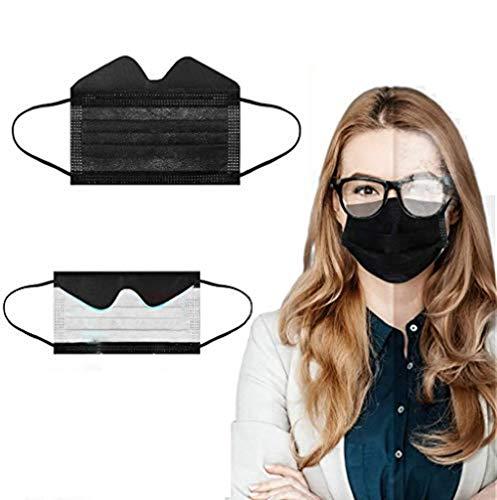 Zwinkle 30/50/100Pcs Advantageprotección Facial Negro de Una Sola Vez para Personas con Gafas, Bandanas Faciales Antivaho para Usuarios de Gafas, para Personas Que Usan Gafas (50, Negro)