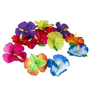 Amosfun Hibiscus Flowers Decor Hawaii Flower Decor DIY Artificial Flowers Neck Loop Tropical Party Decoration Photo Props for Hawaiian Luau Party Jungle Beach Random Color 72Pcs