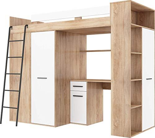 FurnitureByJDM Hochbett mit Schreibtisch, Kleiderschrank und Bücherregal - VERANA L - (Eiche Sonoma/Weiß)