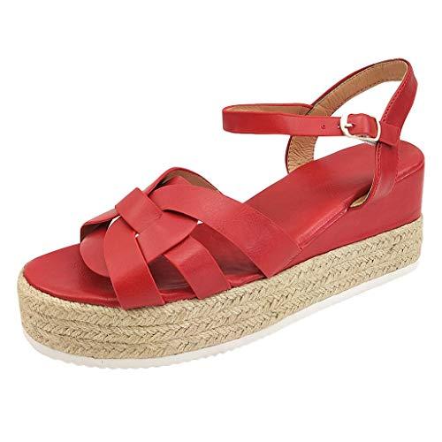 Damen Plateau Keilabsatz Größe,Knöchel Sandalette Knit Wedges Sandalen-Schuhe Rom Platform Cross Fingerless Römische Sandalen URIBAKY