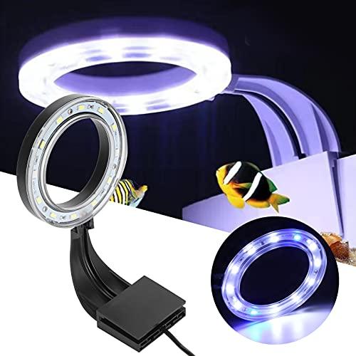Wosune Luz de Clip de lámpara de Acuario, lámpara de Clip de Anillo de pecera, Tanque de Acuario para pecera para Acuario para decoración de Acuario