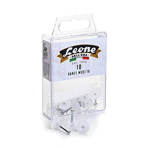 10 ganchos medianos Leone Dell'Era para colgar cuadros con clavos de acero templado – Caja para colgar – Fabricado en Italia, blanco