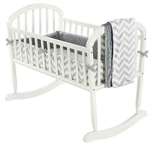 Baby Doll Bedding Minky Chevron Cradle Bedding Set, Grey