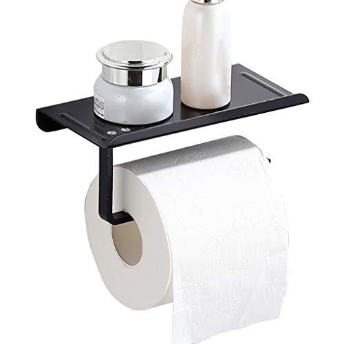 Toilet paper holder Estante de papel para inodoro montado en la pared, soporte para papel de baño, perforado, adecuado para Bedroo baño, inodoro, hotel, etc. (color: negro, tamaño: 16 × 10 × 5 cm)