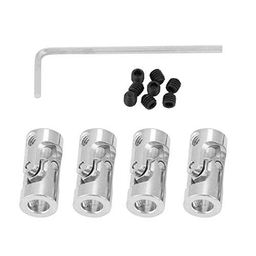 Juntas universales con tornillos de fijación 4 piezas Junta de eje de hierro niquelado Acoplamiento universal de 23 mm de largo(5 * 5mm)