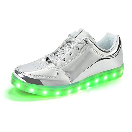 Padgene Zapatillas de Luces LED 7 Colores Carga USB Zapatos con Cordones de Deporte para Mujeres Hombres