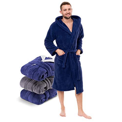 Twinzen - Morgenmantel Herren Flauschig und Kuschelig (M, Dunkelblau) - Oeko-TEX® - Bademantel Fleece Mikrofaser(100% Polyester) mit Kapuze, 2 Taschen, Gürtel und Aufhängeschlaufe