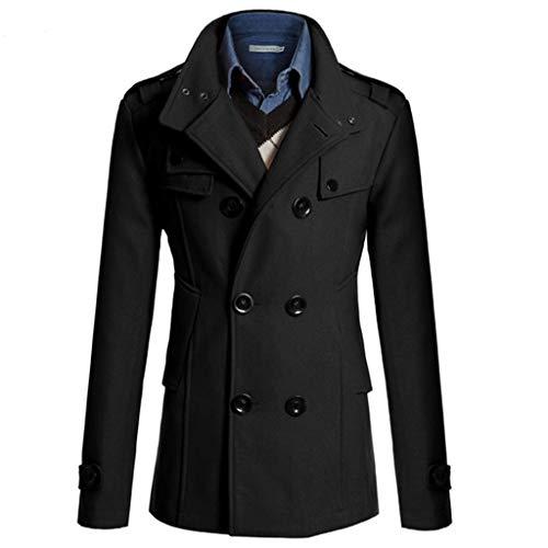 waotier Abrigo de Lana Gabardina Rompevientos Casual para Hombre Cruzado Fashion Business Sección Media y Larga Slim Fit Abrigo Chaqueta Outwear