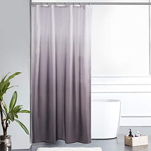Furlinic Duschvorhang Textil Anti-schimmel Wasserdicht Waschbar Badvorhang aus Polyester Stoff Weiß nach Schwarz Schmal 120x200cm mit 8 Duschvorhangringen.