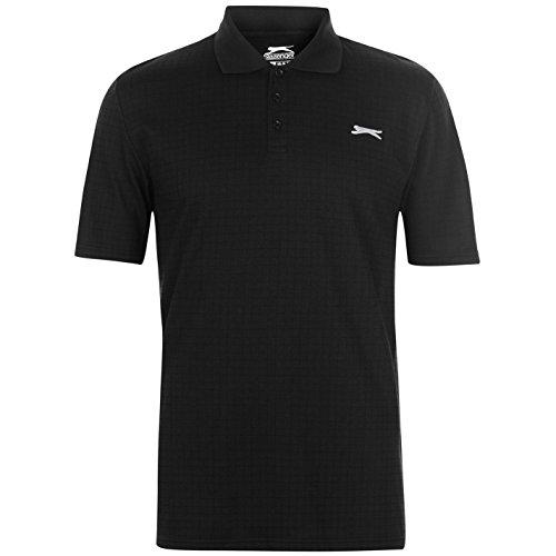 Slazenger Herren Golf Polo Shirt Kariert Kurzarm Schwarz 4XL