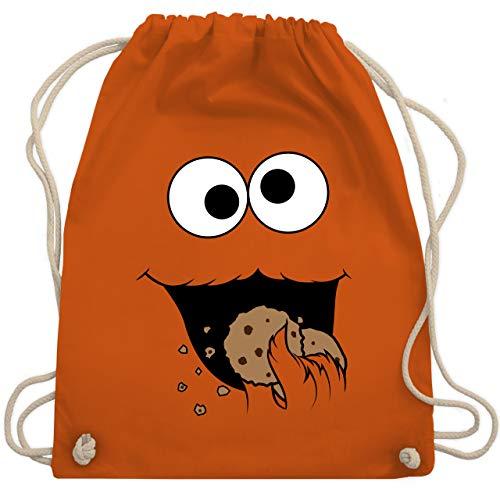 Shirtracer Karneval & Fasching - Keks-Monster - Unisize - Orange - kruemelmonster kostuem - WM110 - Turnbeutel und Stoffbeutel aus Baumwolle
