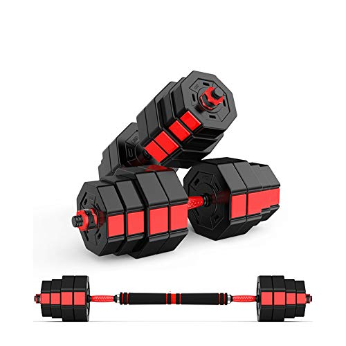 Two Adjustable Dumbbells, Adjustable Barbell Gym Fitness Equipment, Free Weights Dumbbells with Connecting Rod Used As Barbell for Gym Work Out Home, All-Purpose, Home,Two Weights,10 kg