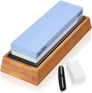 AivaToba Whetstone Knife Sharpening Stone Dual Side Grit 1000/6000 Whetstone with Angle Guide, NonSlip Bamboo Base, Flattening Stone Water Stone for Kitchen