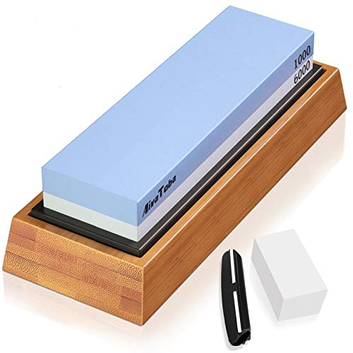 AivaToba Whetstone Knife Sharpening Stone Dual Side Grit 1000/6000 Whetstone with Angle Guide, NonSlip Bamboo Base, Flattening Stone Water Stone for Kitchen