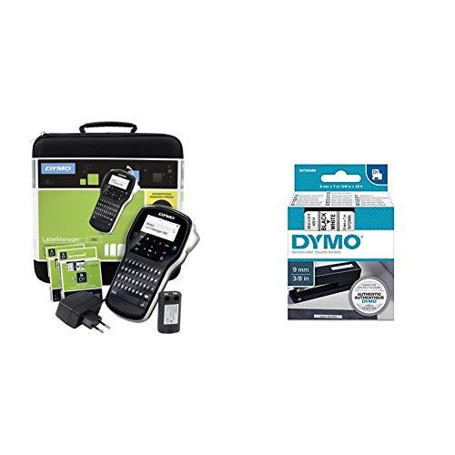 Dymo LabelManager 280 Beschriftungsgerät im Koffer & D1-Schriftband, 9 mm x 7m, schwarz/weiß