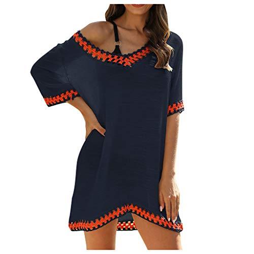 Kanpola Strandkleid Tunika Damen V-Ausschnitt Sommerkleid T-Shirt-Kleid Strandponcho Luftige Longbluse Bikini Cover Up
