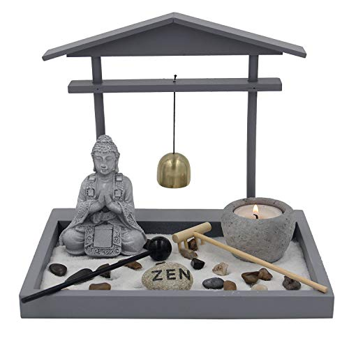 DharmaObjects Buddha Zen Garden Tea Light Candle Holder Set (Gray Bell Buddha)