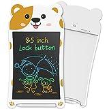 NEWYES 8,5' Tableta de Escritura LCD | Tableta gráfica | Tablet para niños | Ideal como Pizarra Digital para Aprender a Leer, Escribir y para Manualidades | Juguete Educativo(Blanco-Marrón)