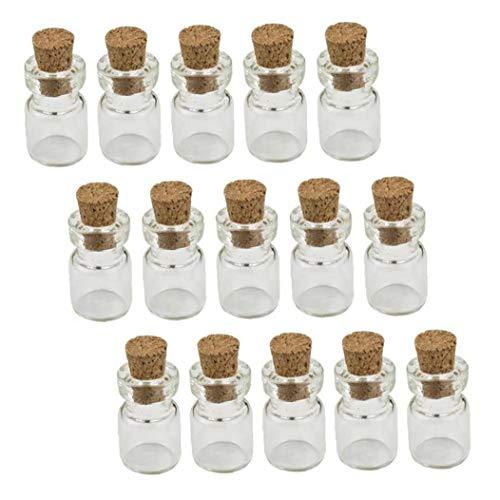Botella de vidrio con corcho LAANCOO Mini Wish botellas de bricolaje botellas en miniatura del corcho Tapones los tarros de cristal de 0,5 ml 50PCS para el día de San Valentín Invierno Día de la Madre