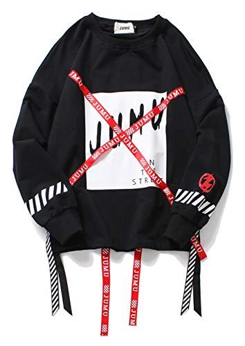 PIZOFF Unisex Hip-Hop Coole Sweatshirts - Langarm Training Oversized Übergroß Straße Stil Band Design,Aa057-black,S