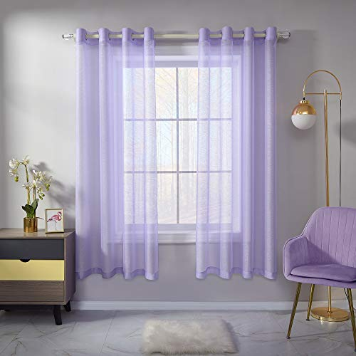 Lavender Sheer Curtains 63 Inch Length Set 2 Panels For Girls Boys Bedroom Translucent Voile Sheer Drapes Elegant Grommet Light Purple Textured Sheer Curtains For Laundry Windows 52 X 63 Inches Long