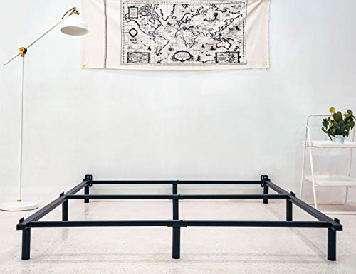 zizin King Size Bed Frame for Box Spring Metal Heavy Duty 7 Inch Adjustable Beds Frames 9 Legs Suppout Sturdy Mattress Foundation, with Headboard Brackets (King)