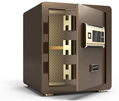 Vault kluis, huishouden, vingerafdruk, veilige staal, anti-diefstal-vuur- en waterdicht, elektronische meubelkluis, kleur bruin, maat: 36 x 31 x 40 cm