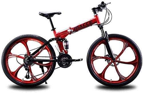 Wyyggnb Mountain Bike, Folding Bike Unisex Dual Suspension Mountain Bike 26 Inch Integral Wheel 21 Speed ​​24 Speed ​​27 Speed ​​High-Carbon Steel Student Commuter City Folding