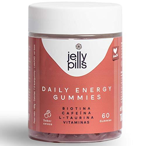 Jelly Pills | Complemento alimenticio natural para Adultos | Daily Energy Gummies | 60 unidades | Con Cafeína, Biotina, L-taurina vegetal, ácido fólico y vitaminas para aumentar tu rendimiento diario