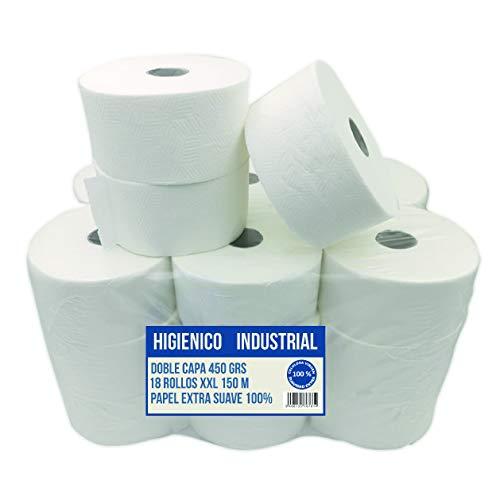 18 Rollos de Papel Higiénico Industrial XXL 150 metros Extra-Suaves Cia&Co | 450 grs Rollo | Doble Capa de Papel Virgen 100% | Rollo WC Blanco total.