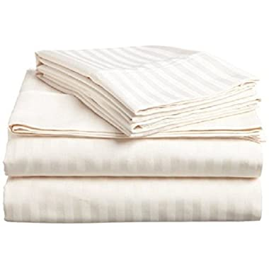 #1 Bed Sheet Set - HIGHEST QUALITY 100% Egyptian Cotton 800 Thread-Count Queen Size Wrinkle, Fade, Stain Resistant - 4 Piece 16  Drop -By Rajlinen  (Ivory Stripe, Queen)