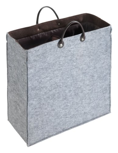 Wenko 3440304100 Wäschesammler Duo Filz - Aufbewahrungstasche, 52 x 54 x 24 cm, 66 Liter, grau / braun