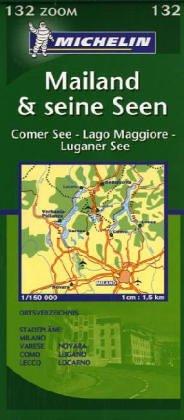 Mailand & seine Seen Zoomkarte 1 : 150 000: Comer See - Lago Maggiore - Luganer See