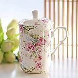 Fengshop Tazas para niños Taza de cerámica, Estilo de Taza de Taza de Horquilla con Flores y lavavajillas para el hogar y Caja Fuerte de microondas Taza de café Grande con Cubierta Taza